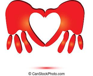 logotipo, coração, símbolo, vermelho, mãos