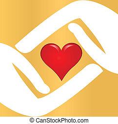logotipo, coração, vetorial, vermelho, mãos