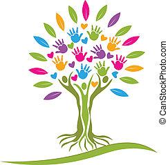 logotipo, corações, árvore, coloridos, mãos