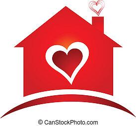 logotipo, corazón, creativo, diseño, casa