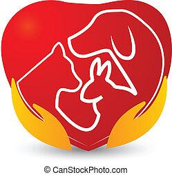 logotipo, corazón, mascotas, manos