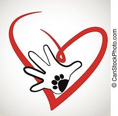 logotipo, corazón, pata, manos