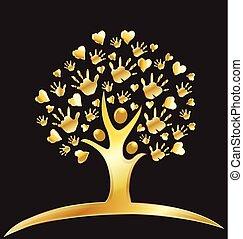 logotipo, corazones, árbol, oro, manos