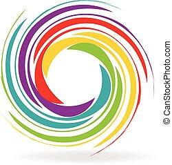 logotipo, cores, ondas, arco íris