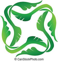 logotipo, cornice, mette foglie, icona