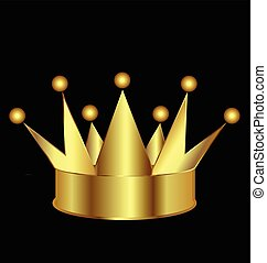 logotipo, corona, oro, icona