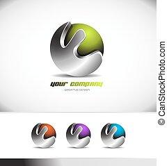 logotipo, corporativo, metallo, sfera verde