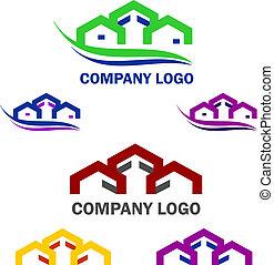logotipo, costruzione casa, web
