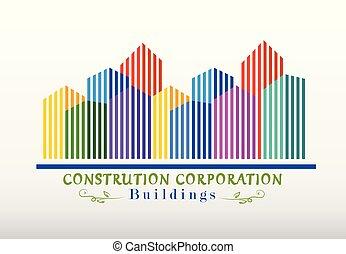 logotipo, costruzioni, moderno, città
