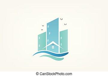 logotipo, costruzioni, moderno, spiaggia