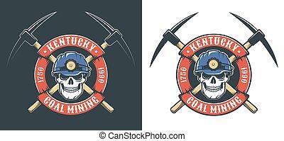 logotipo, cranio, cruzado, mineração, hardhat, retro, mineiro, -, picos