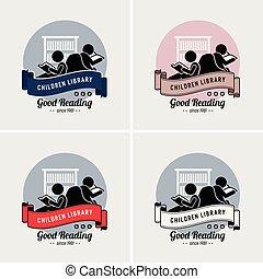 logotipo, crianças, biblioteca, design.