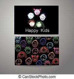 logotipo, crianças, feliz