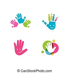 logotipo, crianças, mãos