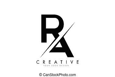 logotipo, criativo, letra, cut., r, ra, desenho