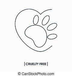 logotipo, crueldade, livre, animal