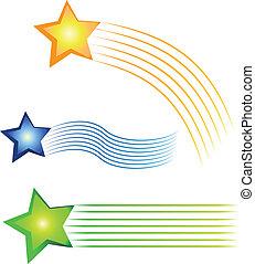 logotipo, cuadros, conjunto, coloreado, tres