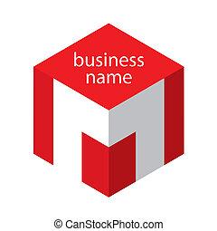 logotipo, cubo, vermelho