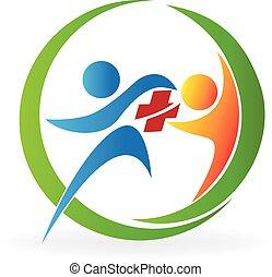 logotipo, cuidado, saúde, trabalho equipe