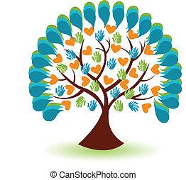 logotipo, cuore, albero, mani affari