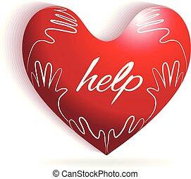 logotipo, cuore, amore, bambini, mani