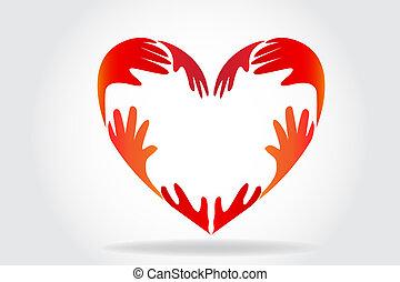 logotipo, cuore, fare amore, mani