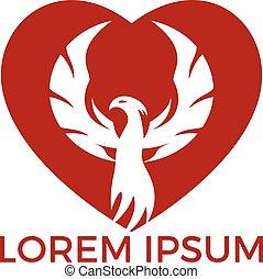 logotipo, cuore, phoenix, design.