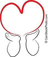 logotipo, cuore, presa a terra, angelo, mani