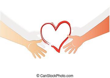 logotipo, cuore, tenere mani