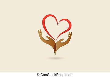 logotipo, cuore, vettore, amore, mani