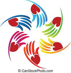logotipo, cuore, vettore, lavoro squadra, mani