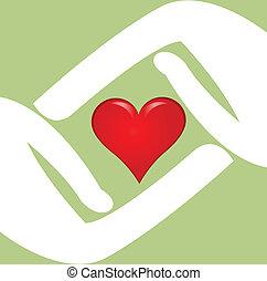logotipo, cuore, vettore, rosso, mani