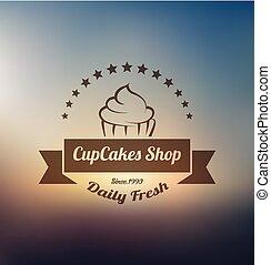 logotipo, cupcake, modelo, etiqueta