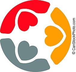 logotipo, cura, persone riunione