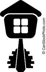 logotipo, de, a, construtor, tecla casa, isolado, branco, experiência., vec