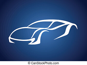 logotipo, de, automóvil, encima, azul