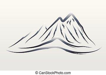 logotipo, de, montañas