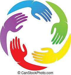 logotipo, desenho, ao redor, mãos