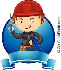 logotipo, desenho, com, repairman, e, ferramentas