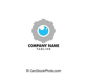 logotipo, desenho, engrenagem, modelo, olho