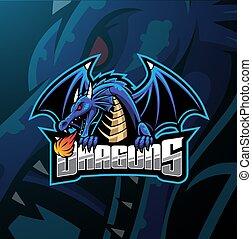 logotipo, desenho, esport, dragão, mascote