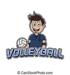 logotipo, desenho, voleibol, ilustração
