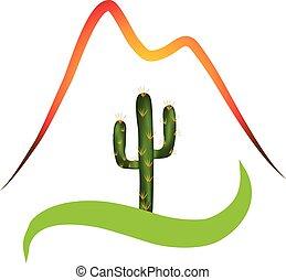 logotipo, deserto, montagne