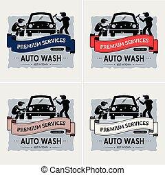 logotipo, design., lavagem, car