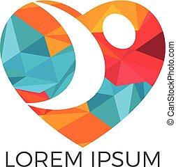 logotipo, design., persone, cuore