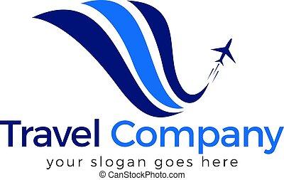 logotipo, design., viaggiare