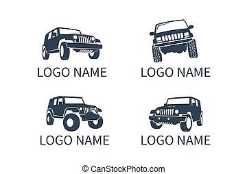 logotipo, desligado, car, estrada