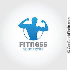logotipo, desporto, centro, condicão física