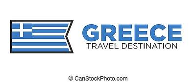 logotipo, destinazione corsa, grecia