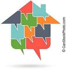 logotipo, diálogo, casa